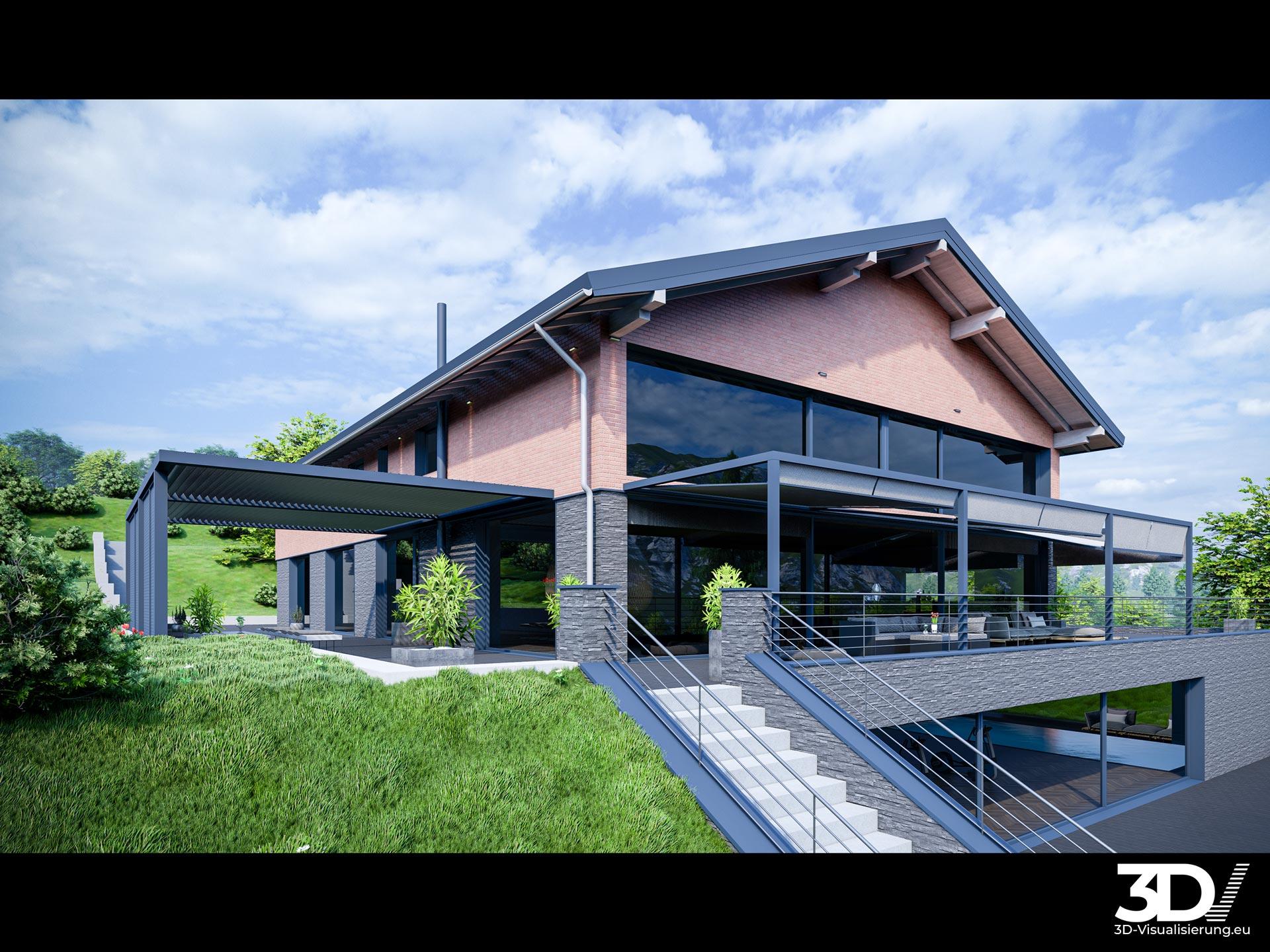 3D-Visualisierte Gesamtansicht einer Villa in Bayern