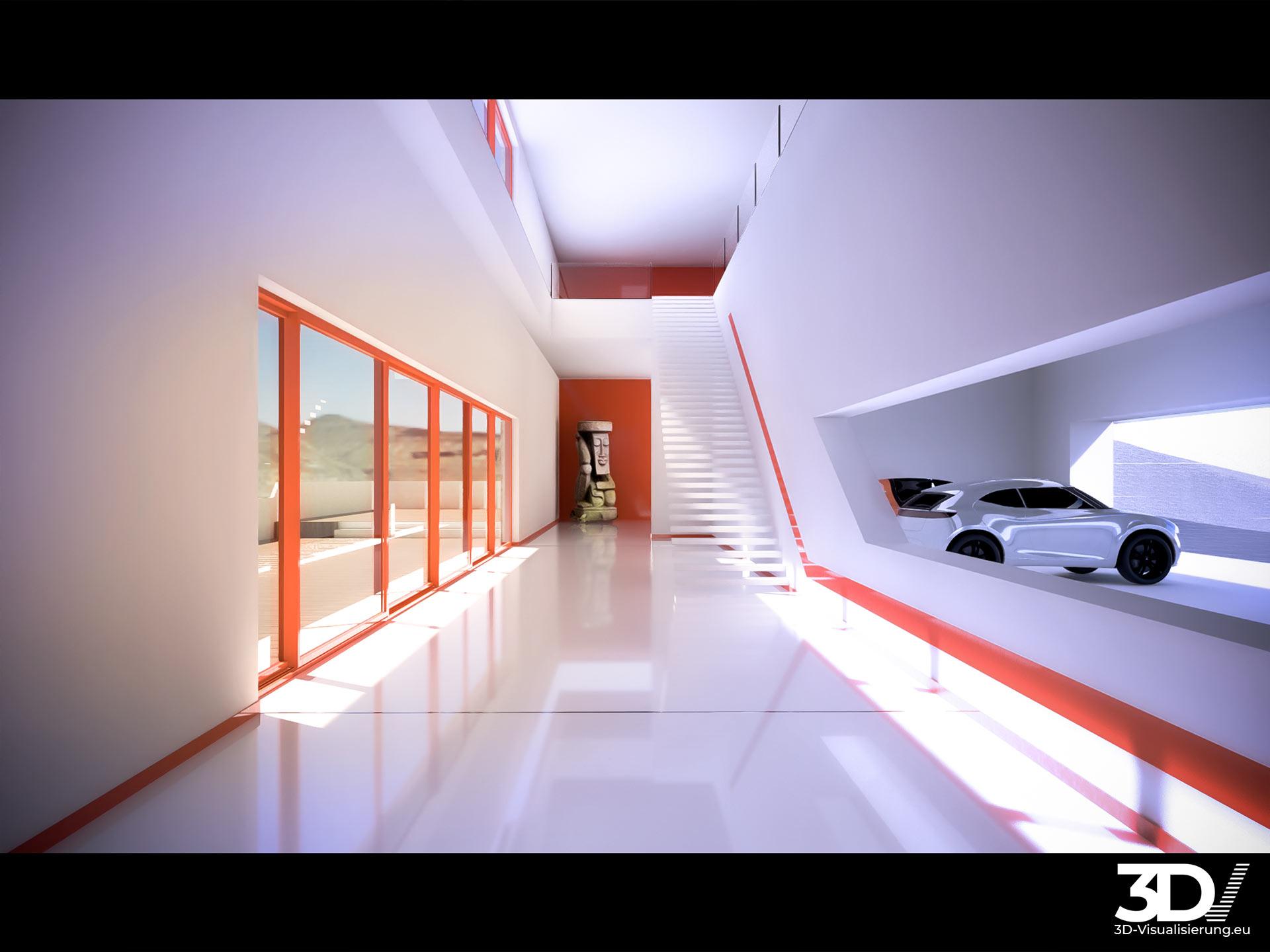 Visualisierung einer offenen Villa am Nürburgring