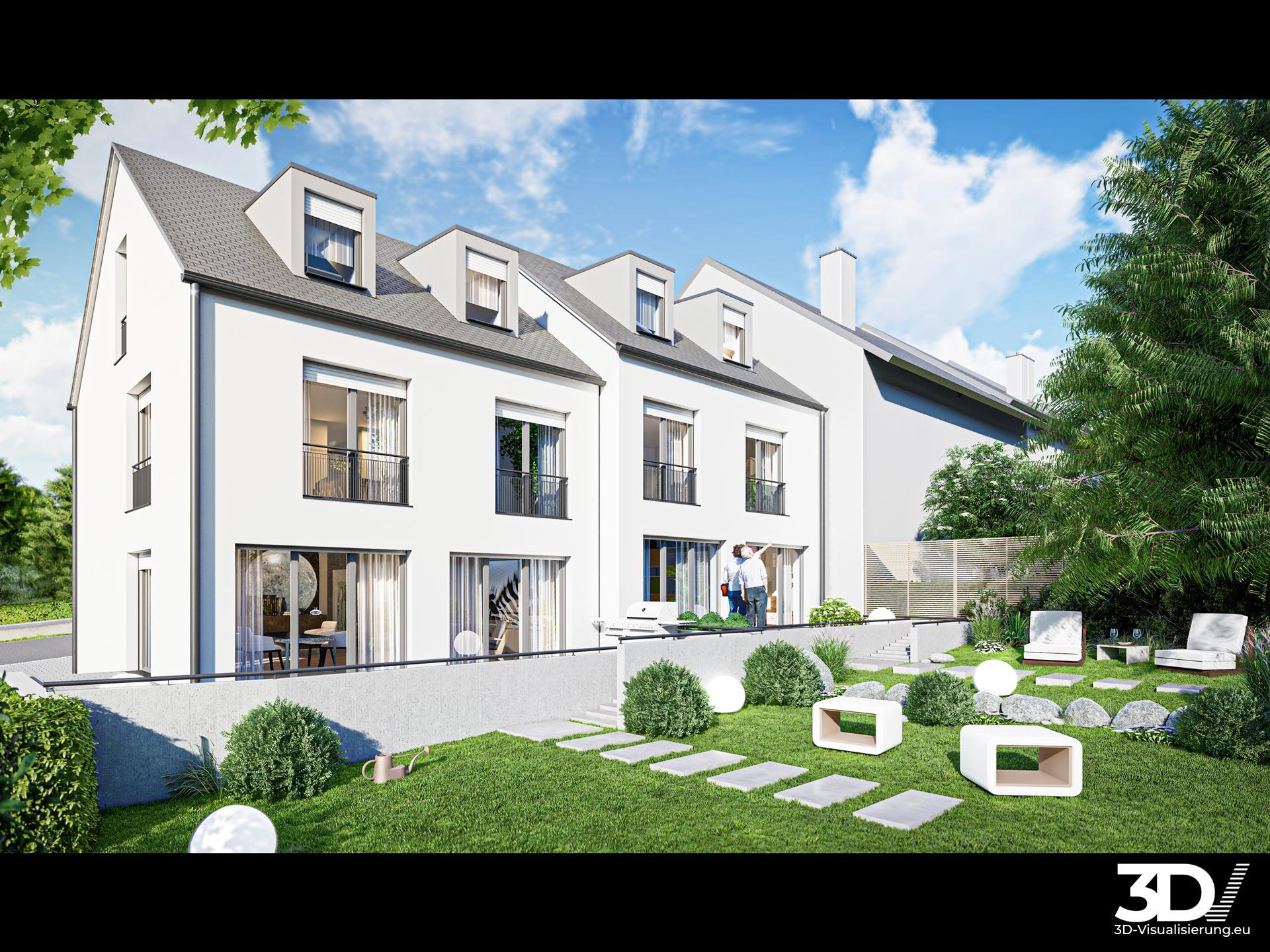 3D Architekturvisualisierung zweier Reihenhäuser in Baden-Württemberg