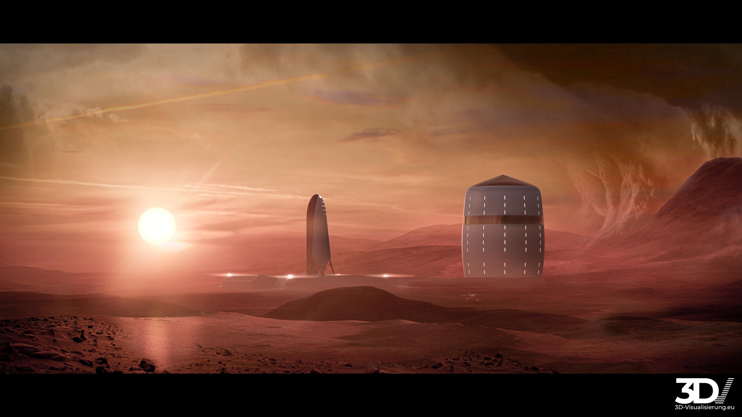 3D Visualisierung eines Mars - Habitat im Jahre 2030