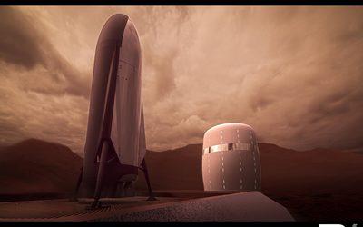 Architekturvisualisierung eines Habitats auf dem Mars 2030