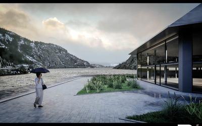 3D Visualisierung eines schwimmenden Museums in Norwegen Szene 01