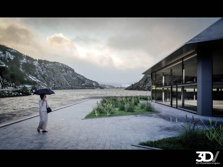 3D Visualisierung schwimmendes Museum Norwegen  - Szene 01