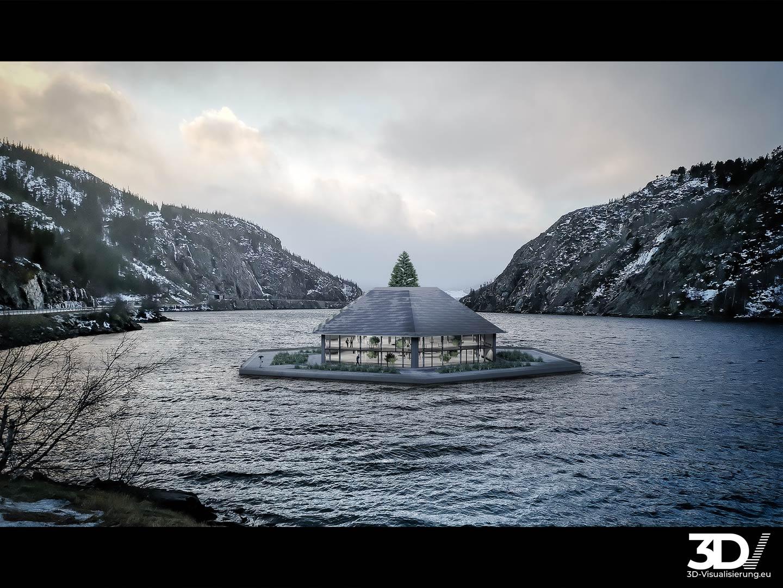 3D Visualisierung schwimmendes Museum Norwegen  - Szene 02
