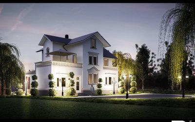 3D Architektur Visualisierung Jugendstilvilla Szene 01
