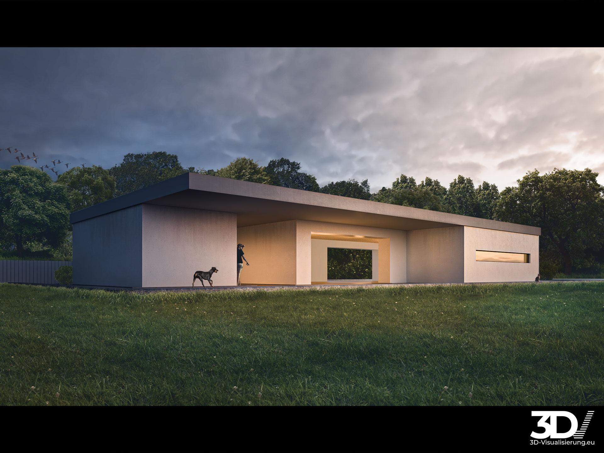 3D Architektur Visualisierung - Bauhausvilla nahe Stuttgart